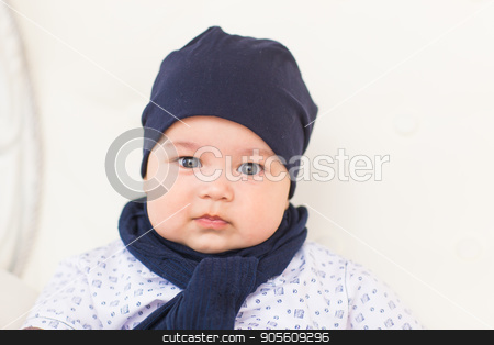 portrait of happy little baby boy smiling stock photo, portrait of happy little baby boy smiling indoors by Satura86