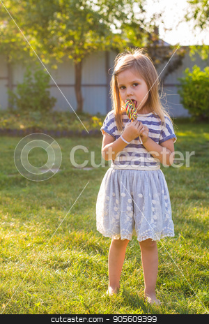 cute cauasian baby girl and big lollipop stock photo, cute cauasian baby girl and big lollipop by Satura86