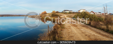 Country road and lake stock photo, Panoramic shot. by Veresovich