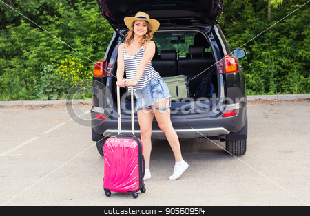 Summer vacation car road trip freedom concept. Happy woman cheering joyful during holiday travel with car stock photo, Summer vacation car road trip freedom concept. Happy woman cheering joyful during holiday travel with car by Satura86