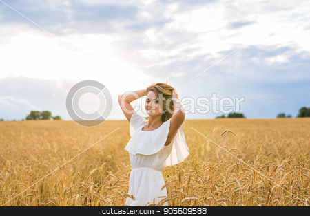 happiness, nature, summer, autumn, vacation and people concept - young woman in the field stock photo, happiness, nature, summer, autumn, vacation and people concept - young woman in the field by Satura86