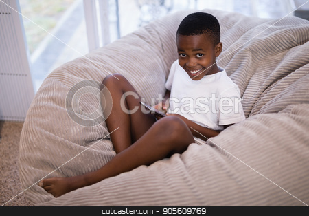 Portrait of smiling boy using mobile phone while sitting on couch at home stock photo, High angle portrait of smiling boy using mobile phone while sitting on couch at home by Wavebreak Media