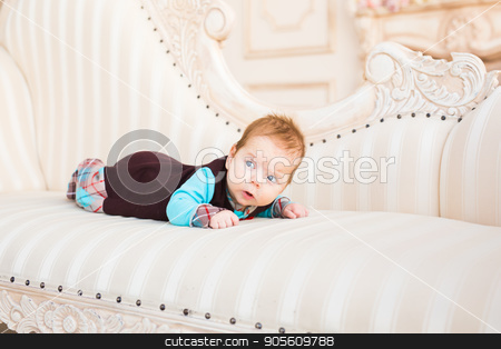 bright portrait of adorable baby stock photo, bright portrait of adorable baby boy indoors by Satura86