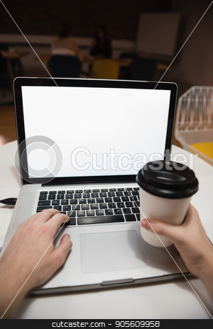 Executive using laptop in office stock photo, Hand of executive using laptop in office by Wavebreak Media