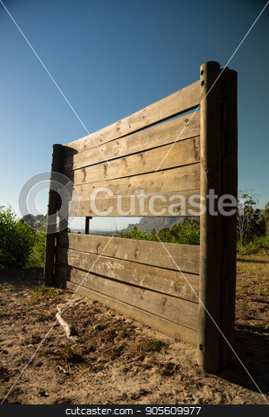 Wooden wall frame in the boot camp stock photo, Wooden wall frame in the boot camp on a sunny day by Wavebreak Media