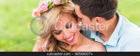 Close-up portrait of happy Couple in love outdoors stock photo, Happy Couple Having Romantic Picnic in Countryside by Satura86