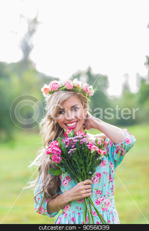 outdoor portrait of a beautiful blonde woman. attractive happy girl in a field with bouquet of flowers stock photo, outdoor portrait of a beautiful blonde woman. attractive happy girl in a field with bouquet of flowers by Satura86