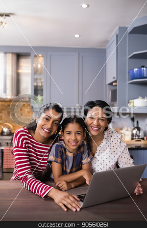 Portrait of happy multi-generation family in kitchen stock photo, Portrait of happy multi-generation family in kitchen at home by Wavebreak Media