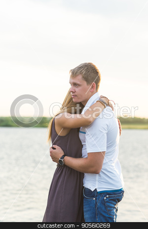 Romantic Couple on the pier stock photo, Romantic Couple on the pier in nature by Satura86