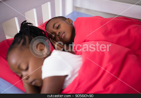Brother and sister sleeping on bed at home stock photo, High angle view of brother and sister sleeping on bed at home by Wavebreak Media
