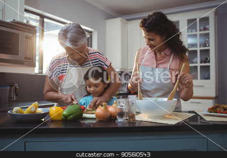 Grandmother teaching granddaughter to chop vegetables in kitchen stock photo, Grandmother teaching granddaughter to chop vegetables in kitchen at home by Wavebreak Media