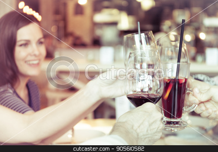 People toasting with glasses of red wine, closeup stock photo, People toasting with glasses of white red, closeup by bvb1981