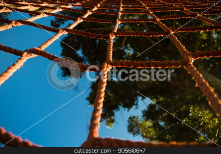Net rope during obstacle course stock photo, Close-up of net rope during obstacle course by Wavebreak Media