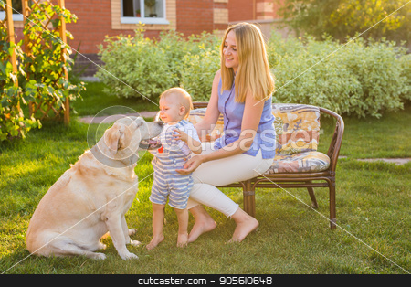 Family Relaxing In Garden With Pet Dog stock photo, Family Relaxing In Garden With Pet Dog by Satura86