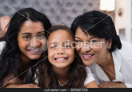 Portrait of multi-generation family at home stock photo, Close up portrait of multi-generation family at home by Wavebreak Media