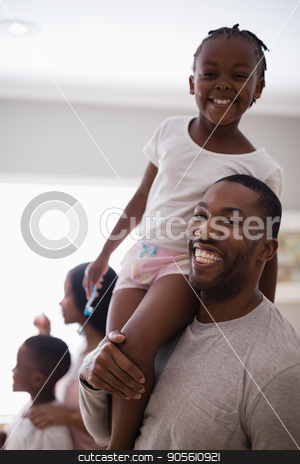 Happy father carrying carrying daughter in bathroom at home stock photo, Portrait of happy father carrying carrying daughter in bathroom at home by Wavebreak Media