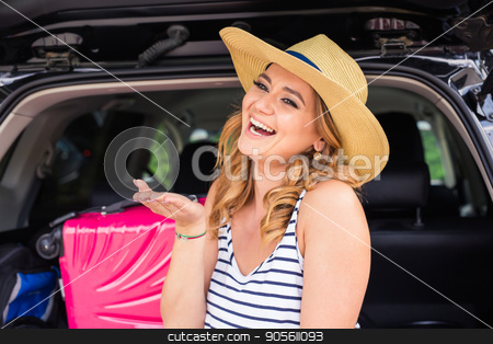 Happy woman on vacation. Summer holiday and car travel concept stock photo, Happy woman on vacation. Summer holiday and car travel concept by Satura86