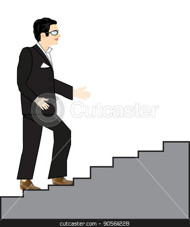 Man rises on stairway stock vector clipart, Man in black suit rises on stairway upwards by cobol1964