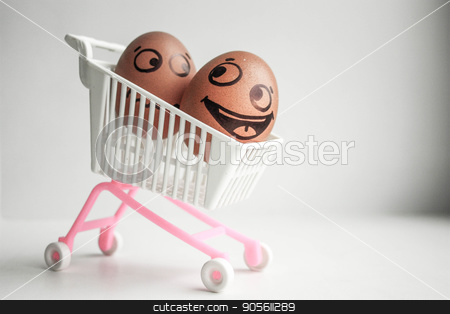 Buy basket concept. An egg with a painted face stock photo, Buy basket concept. An egg with a painted face. Cute egg. Photo for your designBuy basket concept. An egg with a painted face. Cute egg. Photo for your design by Kseniia