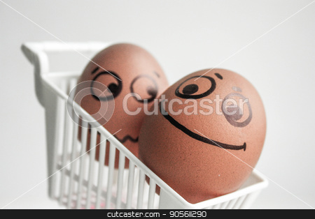 An egg with a painted face. Cute egg. Photo stock photo, Buy basket concept. a good buy. An egg with a painted face. Cute egg. Photo for your design by Kseniia