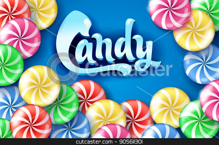 Sweet lollipop candy colorful background stock vector clipart, Sweet lollipop candy colorful background. lettering Candy by MarySan