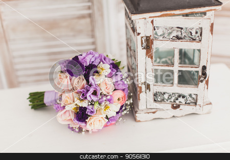 Flower composition. beautiful bouquet of flowers. stock photo, beautiful Wedding bouquet of fresh violet flowers on a white background. Wedding decor concept. by Dmitry