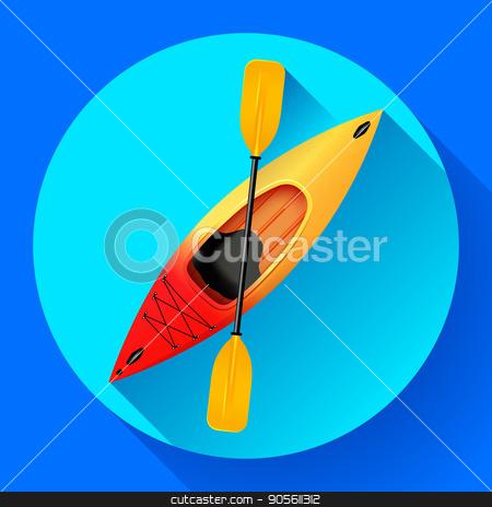 Kayak and paddle icon vector. Outdoor activities. Yellow red kayak, sea kayak flat icon stock vector clipart, Kayak and paddle icon vector. Outdoor activities. Yellow red kayak, sea kayak flat icon by MarySan
