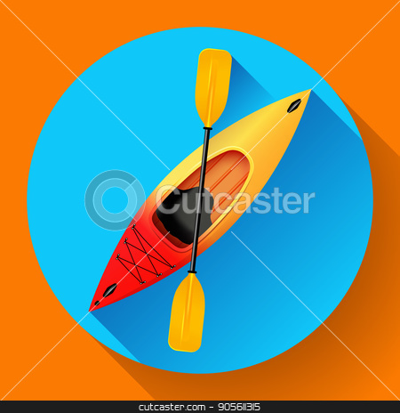 Kayak and paddle icon vector. Outdoor activities. Yellow red kayak, sea kayak flat icon stock vector clipart, Kayak and paddle icon vector. Outdoor activities. Yellow red kayak, sea kayak flat icon by MarySan