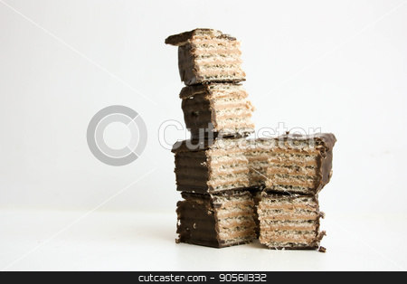 Chocolate wafer tower stock photo, Chocolate wafer tower. Photo for your design by Kseniia