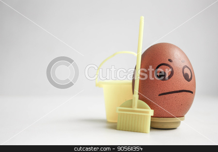 Body cleansing concept. The egg stock photo, Body cleansing concept. The egg with the painted face is brown. Photo for your design by Kseniia