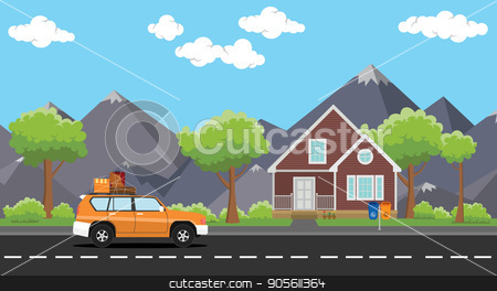 car move with a pack of lot goods on the road with house and tree mountain as background stock vector clipart, car move with a pack of lot goods on the road with house and tree mountain as background vector by teguhjatipras