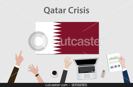 qatar crisis with hand team discuss the economy with qatar flag stock vector clipart, qatar crisis with hand team discuss the economy with qatar flag vector by teguhjatipras