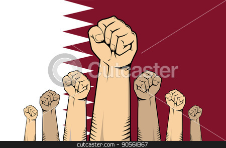 qatar protest with hand fist with qatar flag as background stock vector clipart, qatar protest with hand fist with qatar flag as background vector by teguhjatipras