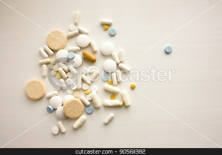 Pills handful on a white background stock photo, Pills handful on a white background. Treatment of health. Photo for your design by Kseniia