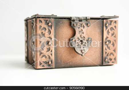 Concept of underground illegal finance stock photo, Concept of underground illegal finance. A treasure chest closed on a white background. Photo for your by Kseniia