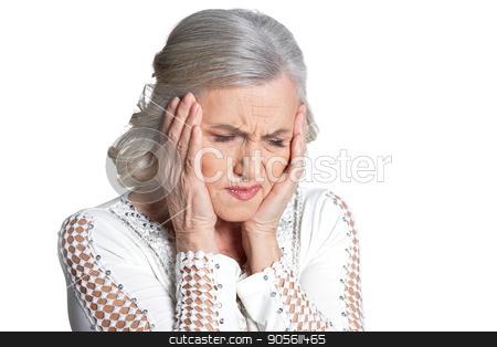 Senior woman with hands on cheeks stock photo, Senior woman with hands on cheeks isolate on white by Ruslan Huzau
