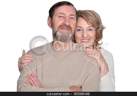Couple smiles seniors stock photo, Smiling  couple senior standing on white background by Ruslan Huzau