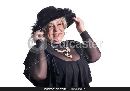 Senior woman in blouse stock photo, Senior woman in fur smiling on white background by Ruslan Huzau