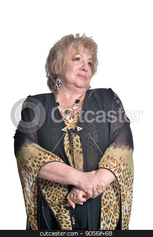 Senior woman in blouse stock photo, Senior woman in blouse dreaming on white background by Ruslan Huzau