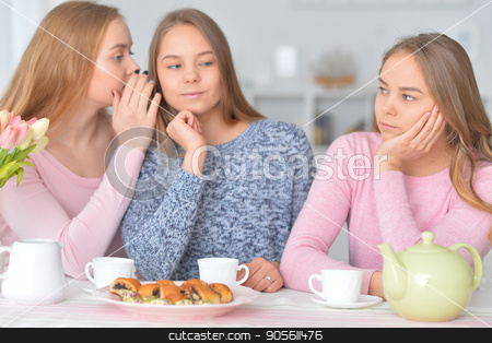 Teenage girls gossiping stock photo, Teenage girls gossiping while sitting at table with tea and sweets by Ruslan Huzau