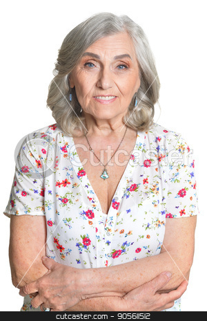 Happy senior woman stock photo, Portrait of happy senior woman isolated on white background by Ruslan Huzau