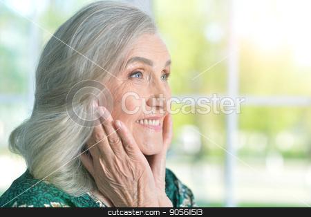 Happy senior woman stock photo, Portrait of a happy senior woman indoors by Ruslan Huzau