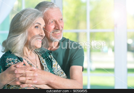 happy senior couple stock photo, Portrait of a happy senior couple close up by Ruslan Huzau
