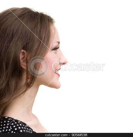 Profile portrait of young smiling woman, isolated on white stock photo, Profile portrait of young smiling woman, isolated on white background by StepStock