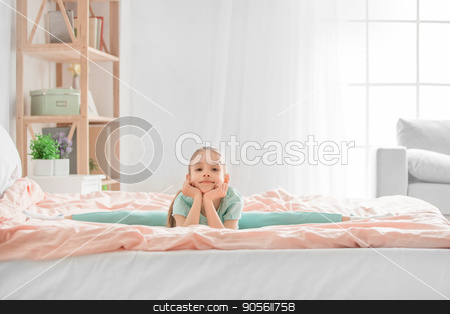 Young teenager girl alone at home childhood stock photo, Young teenager girl alone at home childhood exercise by Dmytro Sidelnikov