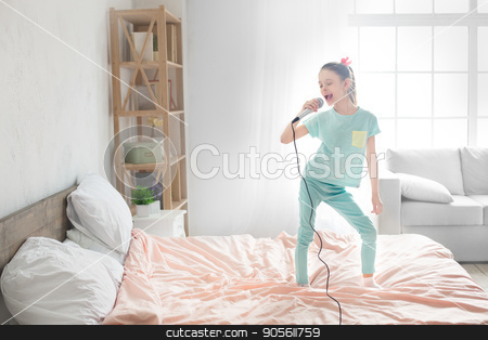 Young teenager girl alone at home childhood stock photo, Young teenager girl alone at home childhood singing by Dmytro Sidelnikov