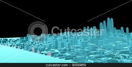 X-Ray Image Of Modern City on Black stock photo, X-Ray Image Of Modern City on Black. 3D rendering by cherezoff