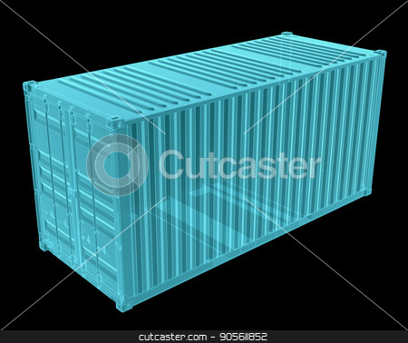 X-Ray Image Of Shipping container stock photo, X-Ray Image Of Shipping container. Isolated on black. 3D Illustration by cherezoff