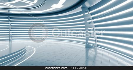 Empty futuristic interior stock photo, Empty futuristic interior with glossy walls and floor. 3d illustration by cherezoff