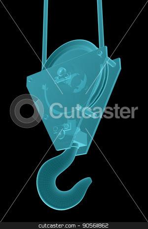 X-Ray Image Of Crane hook stock photo, X-Ray Image Of Crane hook. Isolated on Black. 3D Illustration by cherezoff
